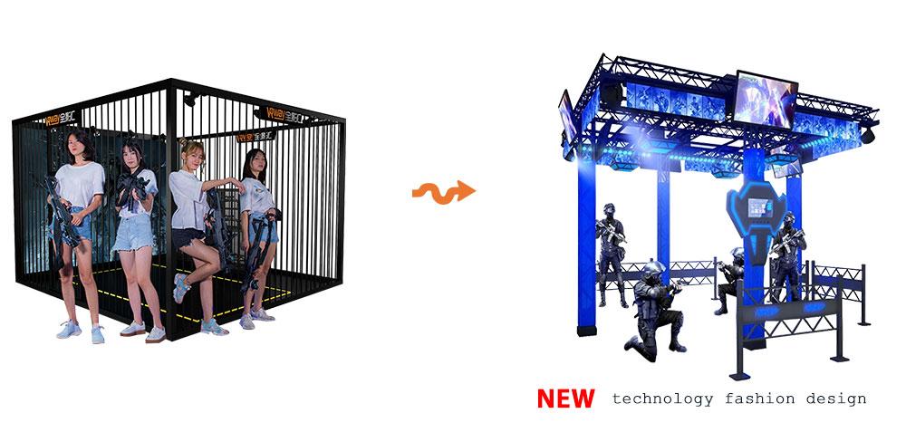 4 Players VR Shooting Platform 360 Degree View VR Escape Room Arena